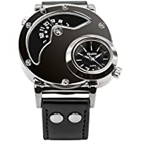 Men's Unique Analog Watch Fashion Dress Quartz Watches Dual Time Wrist Watch with Dual Dial Cool Leather Band Design,Steel Case,Comfortable Leather Band,Two Time Zone - Black
