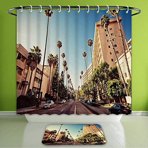 (Waterproof Shower Curtain and Bath Rug Set Urban A Street in Beverly Hills California Palm Trees Houses Famous City Photo Bath Curtain and Doormat Suit for Bathroom Extra Long Size 72