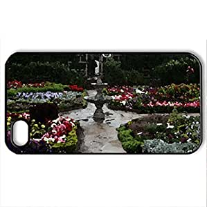 lintao diy beautiful garden - Case Cover for iPhone 4 and 4s (Watercolor style, Black)