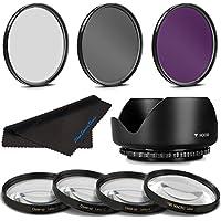 58MM Professional Macro & Lighting Filter Kit for Olympus M.Zuiko Digital ED 40-150mm 1:4-5.6 R, 58 mm CPL + UV + FLD + 4 Piece Close Up Kit & 58 mm Lens Hood, 58mm Filter Bundle