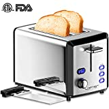 2 Slice Toaster, LOFTER Mirror Stainless Steel Toaster Extra Wide Slots Toaster with 6 Shade Settings, Compact LED Display Toasters with Removable Crumb Tray, Defrost/Reheat/Cancel Function, High Lift Lever, 800W, Silver