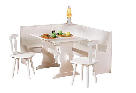 Inter Link Alpine Living Eckbank Gruppe Tisch Stuhle Kucheneckbank Sitzbank Esszimmer Kiefer Massivholz Weiss Lackiert