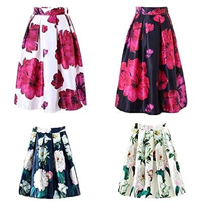 Fabal Woman Flower Bouquet Floral Print High Waist Midi Skirts Mid-Calf Long Saia Ladies Skirt