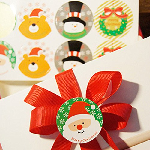 XENO-Seal Label 16pcs Snowman And Bear Stickers For Gift Cup Box Bag Party - Disneyland Mall