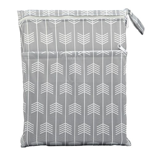 Sigzagor Medium Wet Dry Bag Baby Cloth Diaper Nappy Insert Bag Reusable Washable with Two Zippered Pockets (Grey Arrow)