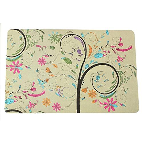 Set of 8 Fashion Vinyl Waterproof Place-mat/Cup Mat Table Decor Flowers Pattern