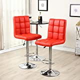Ikea Counter Stools Belleze Leather Hydraulic Lift Adjustable Counter Bar Stool Dining Chair Red -Pack of 2