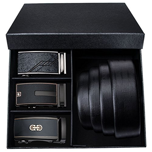 Mens Belt Black Cowhide Leather Ratchet Sliding Buckle Alloy Fashion,Trim to ()
