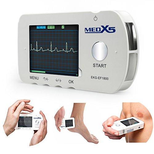 MedX5 Herzfrequenzmesser (Notfall) EKG für Privat und Praxen, inkl. EKG Kabel und Klebeelektroden, Farbdisplay, Speicherkarte und Anleitung. Zur einfachen Kontrolle des EKG's per Hand oder mit EKG Kabel