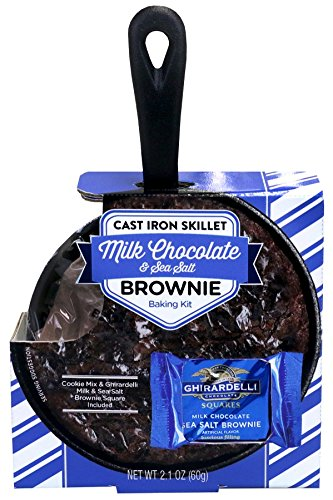 Gourmet Food Christmas Gift Ideas - Chocolate Brownie Cast Iron Skillet Baking Kit: Ghirardelli Milk Chocolate & Sea Salt Edition | With Brownie Mix and Ghirardelli Milk Chocolate & Sea Salt Squares