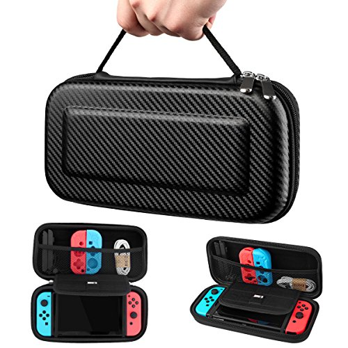 Nintendo Switch Hard Carrying Case by HSWAI,Protective Portable Travel Switch Case Shell Pouch with 10 Game Cartridge Holders for Nintendo Switch Console & Accessories[No bad smells]-BLACK Review
