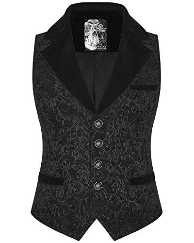 Velours Manche Vintage Sans Jacquard Gilet Steampunk Rave Punk Victorien Gothique Noir Hommes wxBIqZpS0