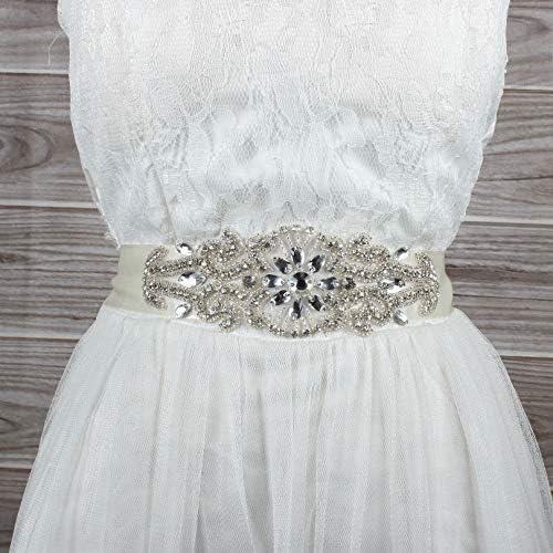 Blue Stones Charming Wedding Beaded Sash Crystal Rhinestone Bridal Sash Handmade Bride Dress Belt Whole Bridal Belts for Wedding Dress