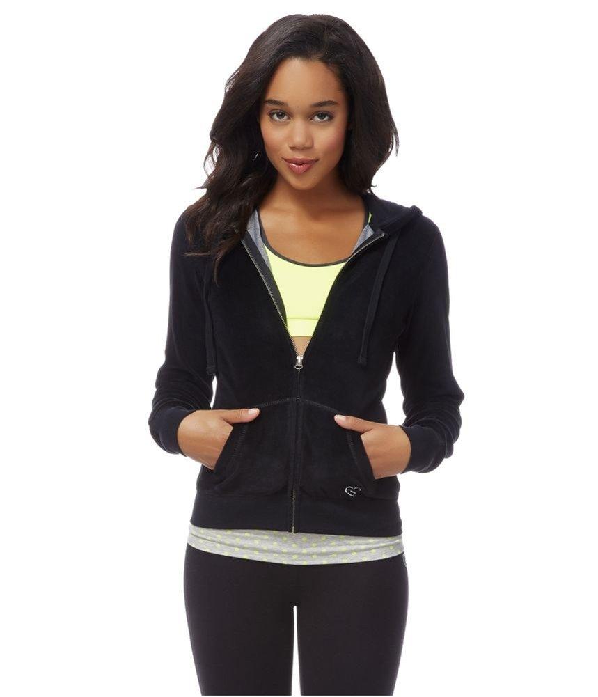 Aeropostale Womens Velour Full Zip Sleep Hoodie Sweatshirt Black XL - Juniors