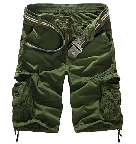 Discount Alion Men's Camouflage Multi-Pocket Shorts Cargo Pants ArmyGreen 28 free shipping