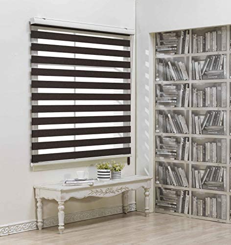 Custom Cut to Size , Winsharp Blackout Fetra , Chocolate , W 88 x H 47 inch Zebra Roller Blinds, Dual Layer Shades, Sheer or Privacy Light Control, Day and Night Window Drapes, 20 to 113 inch wide