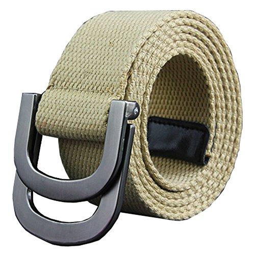 Buckle Khaki (Maikun Belts Military Web Canvas Double D-Ring Buckle Tactical Belt 41