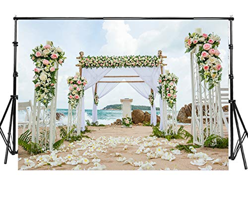 Sensfun 7x5ft Wedding Ceremony Photography Backdrops Bridal Shower Arch White Curtain Rose Flower Decor Photo Background Flowers Petal Falling on Sand Beach Portrait Photo Studio Props(WP022/7x5ft)