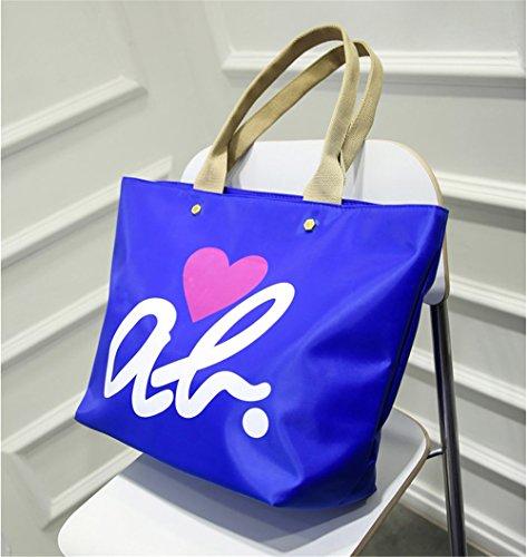 Collège Wewod Sac Porté Bleu Dames Main Filles Coeur Epaule Oxford Shopper Tissu À Cabas D'amour Impression De Grande En PSPr0vwxFq
