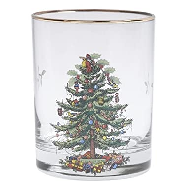 Spode Christmas Tree DOF Glasses with Gold Rims, 14 Ounce-Set of 4