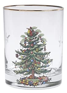 spode christmas tree dof glasses with gold rims 14 ounce set of 4 - 4 Christmas Tree