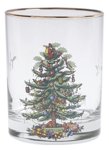 Spode Christmas Tree DOF Glasses with Gold Rims, 14 Ounce-Set of 4 ()
