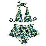 Bikini Bathing Suits for Women,Mlide Ladies Sexy Print Swimsuit Swim Trunks Hanging Neck Split Swimwear Bathing Monokini(Green,S)