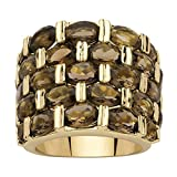 Palm Beach Jewelry Round Genuine Smoky Quartz 14k Gold-Plated Multi-Row Channel-Set Cocktail Ring