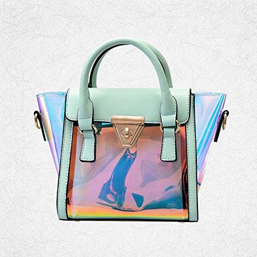 OULII Damen Umhängetasche Crossbody Kette Tasche Transparent Hologramm Handtasche Clutch (Grün)