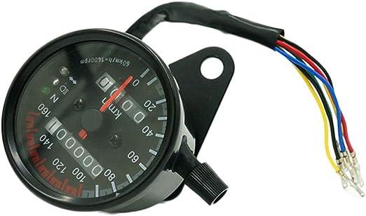 tachimetro con retroilluminazione LED indicatore di velocit/à Contachilometri universale per moto doppio segnale. 160 km//h