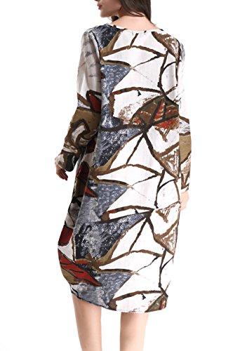 ELLAZHU Women Spring Cotton&Linen Bohemia Print Midi Dress Onesize SZ272 SZ273 Brown