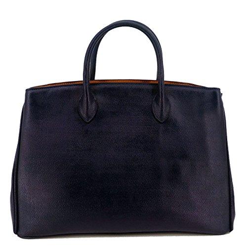 Nuovo / difettoso / Rouven / Icone 40 Box Tote Bag / Indigo blu scuro / Signore Donna borsa in pelle pieno borsa nobile / grande / nobile purista moderna classico / 40x28x19cm