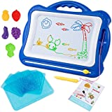 Large Magnetic Drawing Board, 16.5X13.2 Erasable Non-Toxic Magna Doodles Drawing Sketching Pad Tablet,Set with 5 Stamps 6 Sketch Boards and Album for Toddlers Kids Girls Boys, Blue