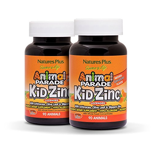 Natures Plus Animal Parade Source of Life KidZinc Lozenges (2 Pack) - Tangerine Flavored - 90 Animal Shaped Tablets - Immune Support Supplement - Vegetarian, Gluten Free - 180 Total Servings