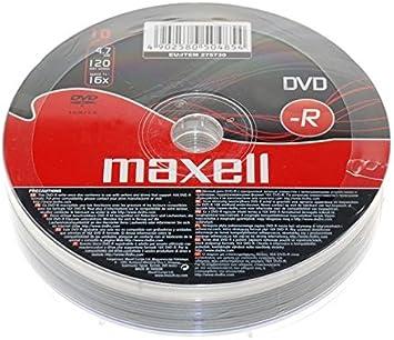 Maxell® DVD-R DVDR 16x Speed 4.7 GB 120 Min Video 10 Pieces 10pcs Blank Media Discs 10 DVDs Pack (1 Packs (10 DVDs)), [Importado de UK]: Amazon.es: Electrónica