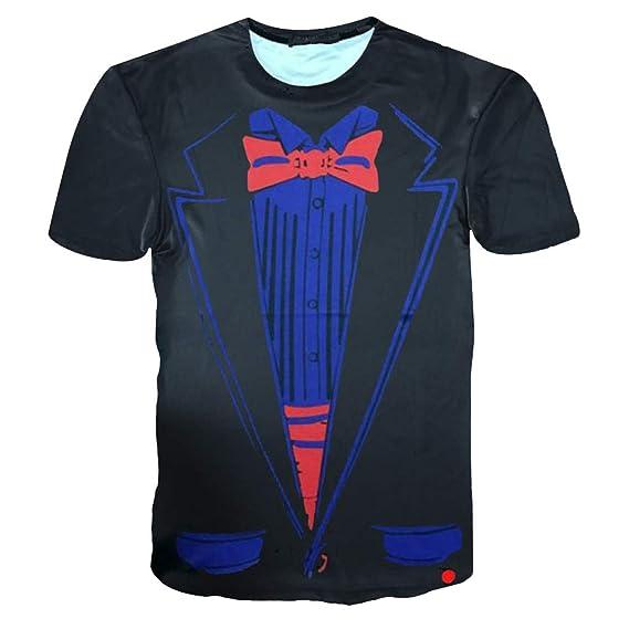 Camisa de Hombre, Internet_Camisa de Manga Corta con Estampado 3D para Hombre, diseño Falso de Dos Piezas, Sudadera con Cuello Redondo(Negro M-2XL): ...