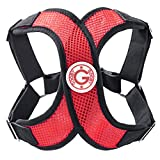 Gooby - Perfect Fit X Harness, Small Dog Choke Free Step-In Harness with Synthetic Lambskin Soft Strap, Red, Medium
