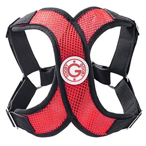 Gooby Choke Free Perfect Fit X Harness for Small Dogs, Small,Red/Black