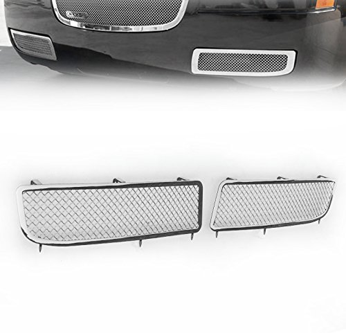 (ZMAUTOPARTS Chrysler 3 Bumper Lower Fog Light Cover Stainless Steel Mesh Grille 2Pcs)