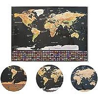 Mapa Mundi de Raspar Bandeiras | Mapa Raspadinha 82x60 / Scratch Map Deluxe