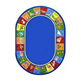 Joy Carpets Kid Essentials Early Childhood Oval Animal Phonics Rug, Multicolored, 5'4'' x 7'8''