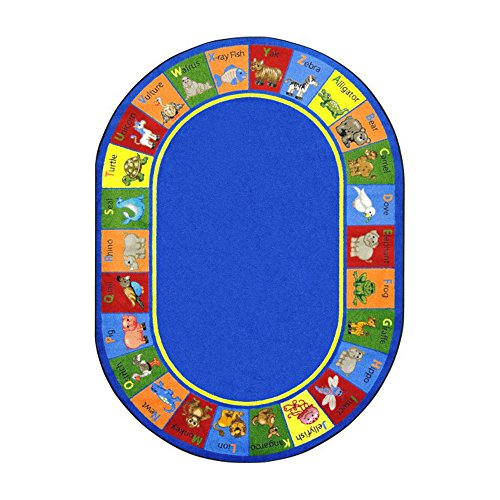 Joy Carpets Kid Essentials Early Childhood Oval Animal Phonics Rug, Multicolored, 5'4'' x 7'8'' by Joy Carpets