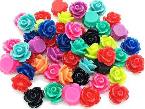 (50pcs 10mm Tiny Resin Roses Flower FlatBacks Cabochons Deco)