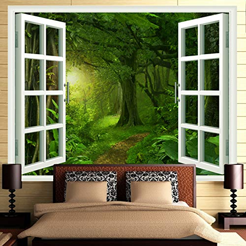 Faux Window Wall - Ameyahud Rainforest Forest Tapestry Fake Windows Towards Green Forest Wall Tapestry Faux Windows Forest Tree Landscape Wall Hanging Tapestries for Home Living Room Dorm Decor