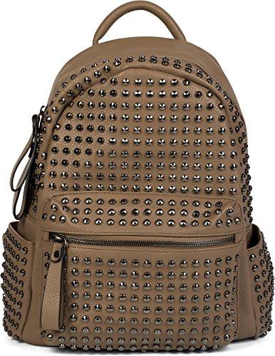 rhinestones with zip styleBREAKER ladies rucksack Gold Brown handbag bag Color 02012226 AHxqx6wp