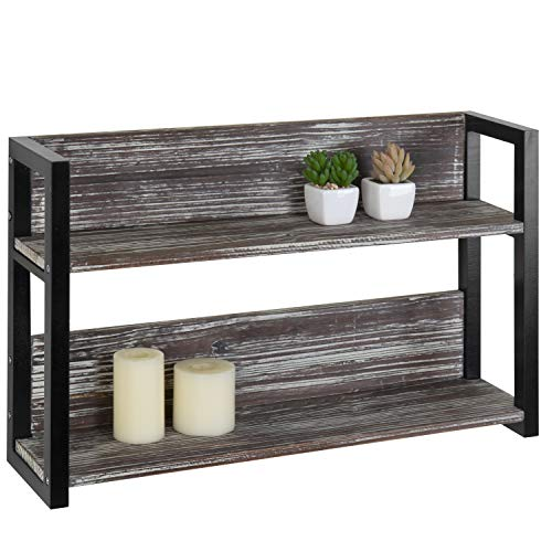 MyGift 24-inch Torched Wood & Black Metal Wall-Mounted 2-Tier Shelf
