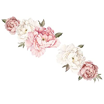 sakd Peony Rose Flowers Wall Stickers Decor Wall Door Decals Mural DIY Wall Affixed Decorative Kids Bedroom Nursery Decor Home Decor Gift (B-45 x 60cm): Arts, Crafts & Sewing