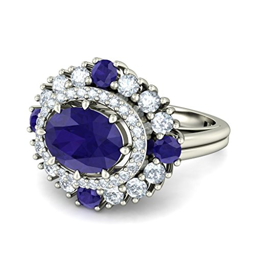 14 K Or blanc, 0,51 CT TW Diamant Blanc (IJ | SI) iolite et diamant Bague