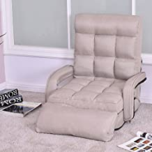 Giantex Folding Lazy Sofa Floor Chair Sofa Lounger Bed with Armrests and a Pillow Lounger Bed Chaise Couch (Beige)