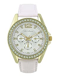 Womens White Leather Strap Watch Goldtone Crystals Accented Bezel Jade LeBaum - JB202738G